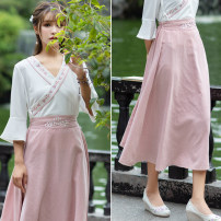 skirt Spring of 2019 Average size Pink, dark green longuette Versatile other Type A