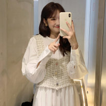 Dress Autumn 2020 Picture color (2-piece set) M [80-100 Jin], l [100-120 Jin], XL [120-140 Jin], 2XL [140-160 Jin], 3XL [160-180 Jin], 4XL [180-200 Jin] Mid length dress Two piece set Long sleeves commute Crew neck High waist Solid color Single breasted A-line skirt shirt sleeve Others Type A other