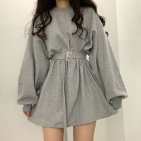 Dress Spring 2020 Gray, blue, black Average size Short skirt singleton  Long sleeves commute Crew neck Loose waist Solid color Socket other routine Others 18-24 years old Korean version 31% (inclusive) - 50% (inclusive) other other