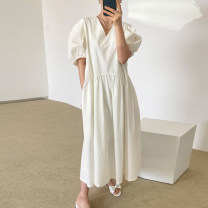 Dress Summer 2021 White, black Average size longuette singleton  Short sleeve commute V-neck Loose waist Solid color Socket other puff sleeve Others 18-24 years old Type A Korean version 31% (inclusive) - 50% (inclusive) other other