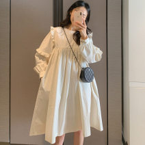 Dress Spring 2021 white Average size Short skirt singleton  Long sleeves commute Crew neck Loose waist Solid color Socket other puff sleeve Others 18-24 years old Type H Korean version 31% (inclusive) - 50% (inclusive) other other