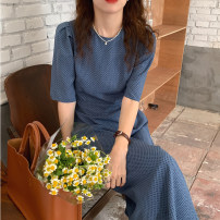 Dress Summer 2021 Blue, black Average size longuette singleton  Short sleeve commute Crew neck High waist Dot Socket A-line skirt puff sleeve Others 18-24 years old Type A Korean version Splicing 31% (inclusive) - 50% (inclusive) other other