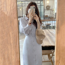 Dress Summer 2021 Apricot, Navy, blue, white S,M,L,XL longuette singleton  Long sleeves commute other High waist Solid color Single breasted routine Others 18-24 years old Korean version 31% (inclusive) - 50% (inclusive) other other