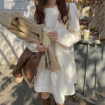 Dress Autumn 2020 Apricot Average size Middle-skirt singleton  Long sleeves commute Crew neck Loose waist Solid color Socket other puff sleeve 18-24 years old Korean version 31% (inclusive) - 50% (inclusive) other other