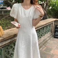 Dress Summer 2021 White, black Average size longuette singleton  Short sleeve commute Crew neck High waist Solid color Socket A-line skirt puff sleeve Others 18-24 years old Type A Korean version 31% (inclusive) - 50% (inclusive) other other
