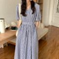 Dress Summer 2021 Picture color Average size longuette singleton  Long sleeves commute V-neck High waist lattice other other puff sleeve Others 18-24 years old Type A Korean version 31% (inclusive) - 50% (inclusive) other other