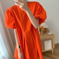 Dress Summer 2020 Black, orange Average size Middle-skirt singleton  Short sleeve commute Crew neck Loose waist Solid color Socket other puff sleeve Others 18-24 years old Korean version 31% (inclusive) - 50% (inclusive) other other