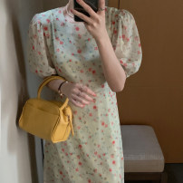 Dress Summer 2021 Black, yellowish green Average size longuette singleton  Short sleeve commute Crew neck Loose waist Broken flowers Socket other routine Others 18-24 years old Type H Korean version 31% (inclusive) - 50% (inclusive) other other