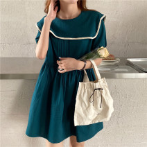 Dress Summer 2021 White, Retro Blue Average size Short skirt singleton  Long sleeves commute Admiral High waist Solid color Socket other puff sleeve Others 18-24 years old Type A Korean version 31% (inclusive) - 50% (inclusive) other other
