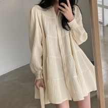 Dress Spring 2021 Apricot, black Average size Short skirt singleton  Long sleeves commute Doll Collar Loose waist Solid color Single breasted Ruffle Skirt other Others 18-24 years old Type A Lotus leaf edge 51% (inclusive) - 70% (inclusive) other