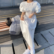 Dress Summer 2021 Black, white Average size longuette other Short sleeve commute Crew neck High waist Solid color Socket A-line skirt puff sleeve Others 18-24 years old Type A Korean version 31% (inclusive) - 50% (inclusive) other other