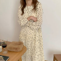 Dress Spring 2021 Apricot, black Average size longuette singleton  Long sleeves commute Crew neck High waist Dot Socket other routine Others 25-29 years old Type A Korean version printing 31% (inclusive) - 50% (inclusive) Chiffon other