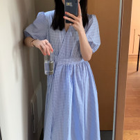 Dress Summer 2021 blue Average size longuette singleton  Short sleeve commute V-neck High waist lattice other other puff sleeve Others 18-24 years old Type A Korean version 31% (inclusive) - 50% (inclusive) other other