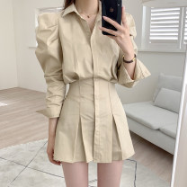 Dress Spring 2021 Black, khaki, white Average size Short skirt singleton  Long sleeves commute other High waist Solid color Single breasted other puff sleeve Others 18-24 years old Type A Korean version 31% (inclusive) - 50% (inclusive) other other