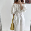 Dress Summer 2021 White, black Average size Mid length dress singleton  Short sleeve commute One word collar High waist Solid color Socket other bishop sleeve 18-24 years old Korean version 31% (inclusive) - 50% (inclusive) other other