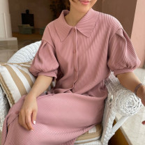Dress Summer 2021 Black, apricot, pink Average size longuette singleton  Short sleeve commute Polo collar Loose waist Solid color Single breasted other bishop sleeve 18-24 years old Type H Korean version Button 31% (inclusive) - 50% (inclusive) other