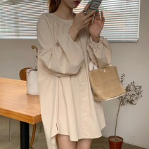 Dress Autumn 2020 Navy, light Khaki Average size singleton  Long sleeves commute Crew neck Loose waist Solid color Single breasted other bishop sleeve Others 18-24 years old Korean version 31% (inclusive) - 50% (inclusive) other other