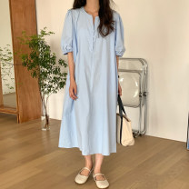 Dress Summer 2021 Green, blue, yellow Average size Mid length dress singleton  Short sleeve commute V-neck Loose waist Solid color Single breasted other puff sleeve Others 18-24 years old Type H 31% (inclusive) - 50% (inclusive) other other
