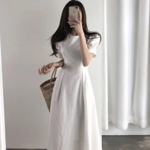 Dress Summer of 2019 Red, white S, M longuette singleton  Short sleeve commute Crew neck High waist Solid color Socket A-line skirt routine Others 18-24 years old Type A Korean version 31% (inclusive) - 50% (inclusive) other other