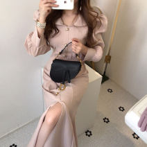Dress Spring 2020 Black, apricot S,M,L longuette singleton  Long sleeves commute other High waist Solid color other other puff sleeve Others 18-24 years old Type X Korean version 31% (inclusive) - 50% (inclusive) other other