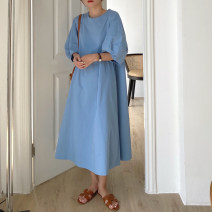 Dress Summer 2021 Apricot, blue Average size longuette singleton  Short sleeve commute Crew neck Loose waist Solid color Socket other puff sleeve Others 18-24 years old Korean version 31% (inclusive) - 50% (inclusive) other other
