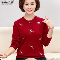 Middle aged and old women's wear Spring 2020 Red, green, black, camel, purple, pink XL,XXL,XXXL,4XL leisure time sweater easy singleton  Solid color 40-49 years old Socket moderate Crew neck routine routine 0201 embroidery Other / other Embroidery Wool, polyester 96% and above