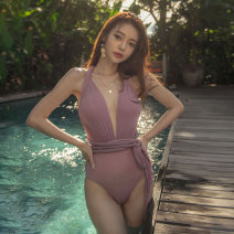 one piece  Swimsuit M,L,XL Picture color Triangle one piece swimsuit With chest pad without steel support polyester fiber female Sleeveless Casual swimsuit