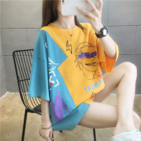 Women's large Summer 2020 White, pink, orange Large L, large XL, m, 2XL T-shirt singleton  commute easy thin Socket elbow sleeve Cartoon animation Korean version Crew neck Medium length cotton printing and dyeing routine 18-24 years old 31% (inclusive) - 50% (inclusive)