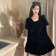 Women's large Winter 2020 Black velvet dress S M L XL XXL Dress singleton  commute Self cultivation Socket Long sleeves Solid color Retro square neck puff sleeve Jimeng 18-24 years old Medium length Other 100% Exclusive payment of tmall other