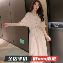 Women's large Summer 2020 Apricot M L XL 2XL 3XL 4XL 5XL Dress singleton  Sweet Self cultivation moderate three quarter sleeve V-neck routine 7-14X1574 unifittoo 18-24 years old Medium length Polyester 95% polyurethane elastic fiber (spandex) 5% Pure e-commerce (online only) solar system
