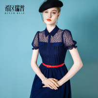 Dress Summer 2021 Navy (pre-sale after April 20) white (pre-sale after April 20) XS S M L XL Mid length dress singleton  Short sleeve commute Polo collar middle-waisted other zipper Big swing puff sleeve Others 30-34 years old Type X Heathcliff lady Button mesh zipper lace F1366 More than 95% other