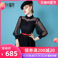 Dress Spring 2021 black XS S M L XL Mid length dress singleton  Long sleeves commute Polo collar middle-waisted Dot zipper Big swing puff sleeve Others 30-34 years old Type X Heathcliff lady Stitching zipper F1365 More than 95% other polyester fiber Polyester 100% Pure e-commerce (online only)