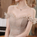Dress / evening wear Wedding, adulthood, party, company annual meeting, show, date XXL,S,M,L,XL Champagne sexy longuette middle-waisted Spring 2021 Fluffy skirt One shoulder Bandage Netting 18-25 years old HM21410 Short sleeve Diamond ornament Solid color Other / other Flying sleeve
