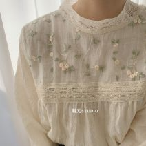 Lace / Chiffon Spring of 2019 Apricot Average size Long sleeves Versatile Socket singleton  easy Regular stand collar Solid color routine 18-24 years old Embroidery, lace