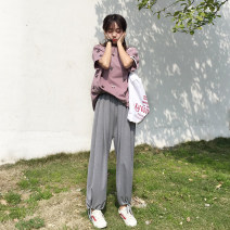 Women's large Summer of 2019, autumn of 2019 Gray, black M (recommendation 80-100), l (recommendation 100-120), XL (recommendation 120-140), 2XL (recommendation 140-160), 3XL (recommendation 160-180), 4XL (recommendation 180-200) trousers singleton  commute Straight cylinder thin Solid color thread