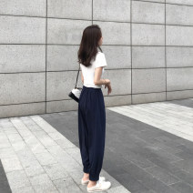 Women's large Summer of 2019, autumn of 2019 Navy, green M (recommendation 80-100), l (recommendation 100-120), XL (recommendation 120-140), 2XL (recommendation 140-160), 3XL (recommendation 160-180), 4XL (recommendation 180-200) trousers singleton  commute Straight cylinder thin Solid color thread