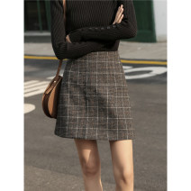 skirt Autumn of 2019 S,M,L Grey, gag Short skirt commute High waist A-line skirt lattice Type A 18-24 years old 81% (inclusive) - 90% (inclusive) Wool other Retro