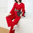 Jumpsuit / pants 96% and above trousers polyester fiber High waist commute claret S M L XL 2XL Thin money Autumn 2020 Wide leg pants Xinyuquan Pure e-commerce (online only)