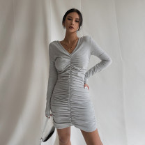 Dress Summer 2021 Black, white, gray, khaki S, M Short skirt singleton  Sleeveless street V-neck High waist Solid color Socket One pace skirt routine Others Type X 51% (inclusive) - 70% (inclusive) other nylon Europe and America