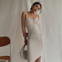 Dress Summer 2021 Black, khaki, lake blue S, M Short skirt singleton  Sleeveless street other High waist Solid color Socket One pace skirt routine camisole 51% (inclusive) - 70% (inclusive) other nylon Europe and America