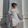 Dress Summer 2020 white S,M,L Short skirt singleton  elbow sleeve street One word collar High waist Solid color Socket other Others Type A 91% (inclusive) - 95% (inclusive) cotton Europe and America