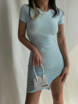 Dress Summer 2021 wathet S, M Short skirt singleton  Short sleeve street Crew neck High waist Solid color Socket One pace skirt routine Others Type X 51% (inclusive) - 70% (inclusive) other Europe and America