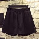 Casual pants Blue black L XL 2XL 3XL 4XL Summer of 2018 shorts Wide leg pants High waist Versatile Thin money 71% (inclusive) - 80% (inclusive) rivet