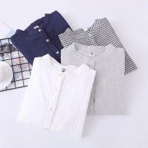 shirt Dark blue, light gray, white, check XL,L,M,S Spring 2021 cotton 96% and above Long sleeves Sweet Regular stand collar Single row multi button routine lattice Straight cylinder Mori