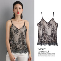 Vest sling Spring 2021 black M,L,XL,2XL singleton  routine easy Original design camisole Solid color 30-34 years old 96% and above Lace Mixmio / muka Lace, backless