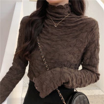 Lace / Chiffon Winter 2020 Brown, apricot, black Average size Long sleeves commute Socket singleton  Self cultivation Regular High collar Solid color routine 18-24 years old Pleating Korean version