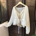 Lace / Chiffon Summer of 2019 Apricot, white Average size Long sleeves Sweet Cardigan singleton  easy have cash less than that is registered in the accounts V-neck Solid color bishop sleeve 18-24 years old Other / other Auricularia auricula, lace, gauze net