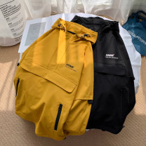 Jacket Other / other Youth fashion Black, yellow M. L, s, XL, 2XL, 3XL, 4XL, 5XL, XS plus small routine easy Other leisure autumn Polyester 100% Long sleeves Wear out Hood Youthful vigor teenagers routine Zipper placket 2020 Rubber band hem No iron treatment Closing sleeve Solid color polyester fiber