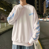 Sweater Youth fashion Others White, black, light grey S. M, l, XL, 2XL, 3XL, XS plus small, 4XL, 5XL Geometric pattern Socket routine Crew neck spring easy leisure time teenagers tide Off shoulder sleeve Fleece  Polyester 100% other printing No iron treatment