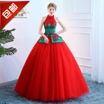 Dress / evening wear Wedding, adulthood, party, company annual meeting, performance Picture color Retro longuette middle-waisted Winter 2017 Fluffy skirt Hanging neck style Bandage Netting Sleeveless Nail bead Pearl